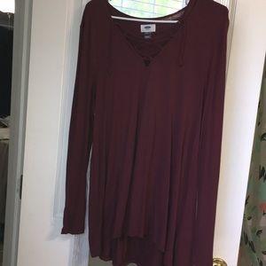 Super Soft Lace-up Long Sleeve Shirt